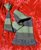 Extra-long stocking cap with tassel.